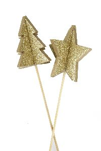 Stecker Sparkling 3D GOLD 20474325  Holz 6cm GL:55cm Stern+Baum
