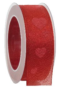 Band Herzallerliebst Herzband rot 420a 20 formstab.Kante B:40mm L:20Meter