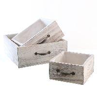 Schublade mit Griff S/3 weiss gewischt 71691 Holz Foli 15x15x8cm/20x20x9cm/25x25x10cm