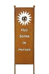 Gartenstecker Stele mit Spruch Roststecker GL:118 Kugel Ø9cm Hab Sonne im Herzen 30x88cm