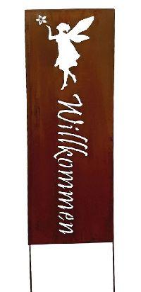 Stele Willkommen mit Elfe Naturrost 78168 Roststele 31xGL120cm Gartenstecker Metal