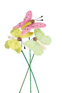 Filzschmetterling am Pick rosa-gelb-grün 8471304 6,5cm GL:22cm Wippfeder